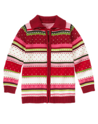 Girls Cranberry Red Fair Isle Fair Isle Stripe Sweater Cardigan by Gymboree