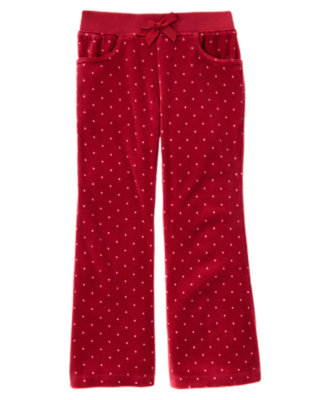 Girls Cranberry Red Dot Velour Flare Pant by Gymboree