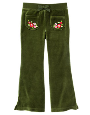 Girls Juniper Green Sequin Flower Velour Flare Pant by Gymboree