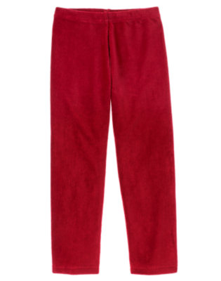Girls Cranberry Red Velour Legging by Gymboree