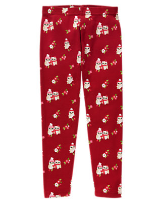 Girls Cranberry Red Owl Owl Legging by Gymboree