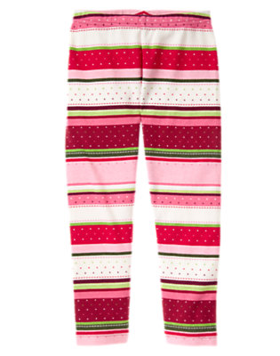 Girls Cranberry Red Fair Isle Fair Isle Stripe Legging by Gymboree