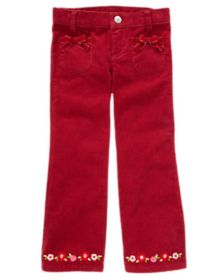 Girls Cranberry Red Sequin Flower Bootcut Corduroy Pant by Gymboree