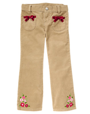 Girls Khaki Flower Bootcut Corduroy Pant by Gymboree