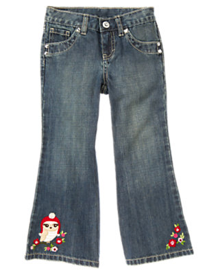 Girls Denim Sequin Owl Bootcut Jean by Gymboree