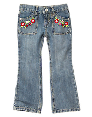 Denim Sequin Flower Bootcut Jean by Gymboree
