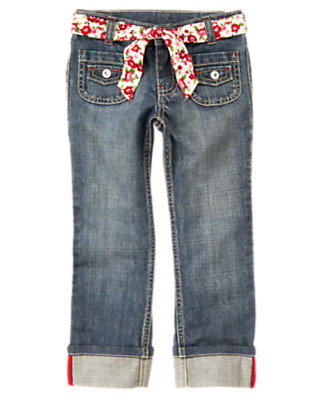 Girls Denim Flower Belt Roll Cuff Jean by Gymboree