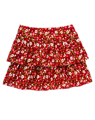 Girls Cranberry Red Floral Flower Tiered Skort by Gymboree