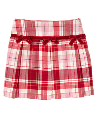 Girls Cozy Pink Plaid Bow Pleated Plaid Skort by Gymboree