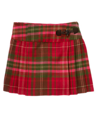 Girls Cranberry Red Plaid Toggle Pleated Plaid Skort by Gymboree