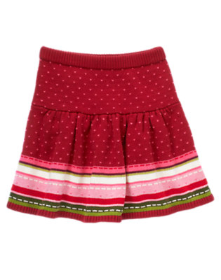Girls Cranberry Red Fair Isle Fair Isle Sweater Skirt by Gymboree