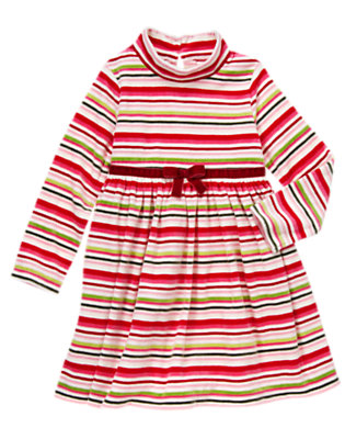 Girls Cozy Pink Stripe Bow Stripe Velour Dress by Gymboree