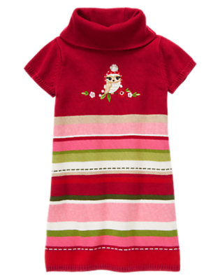 Girls Cranberry Red Stripe Owl Stripe Sweater Dress by Gymboree