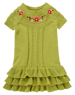 Girls Apple Green Sequin Flower Cable Sweater Dress by Gymboree