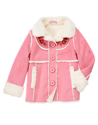 Girls Winter Rose Sequin Flower Faux Shearling Coat by Gymboree