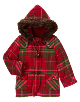 Girls Cranberry Red Plaid Plaid Hooded Toggle Coat by Gymboree