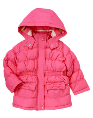 Cozy Pink Bow Pocket Puffer Coat by Gymboree