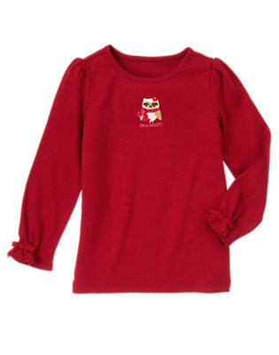 Cranberry Red Embroidered Owl Tee by Gymboree