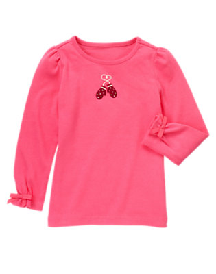 Cozy Pink Embroidered Mittens Tee by Gymboree