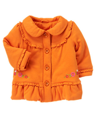 Toddler Girls Pumpkin Orange Embroidered Bubble Jacket by Gymboree