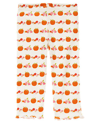 Ivory Pumpkin Pumpkin Flower Legging by Gymboree