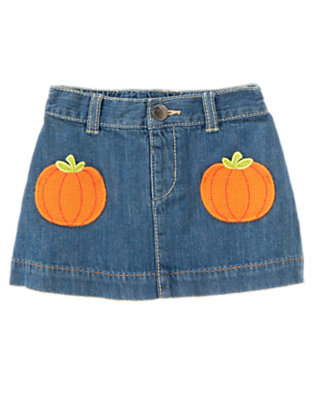Toddler Girls Denim Pumpkin Pocket Jean Skirt by Gymboree