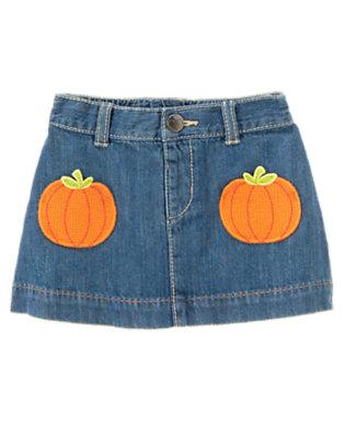 Toddler Girls Denim Pumpkin Pocket Jean Skirt by Gymboree
