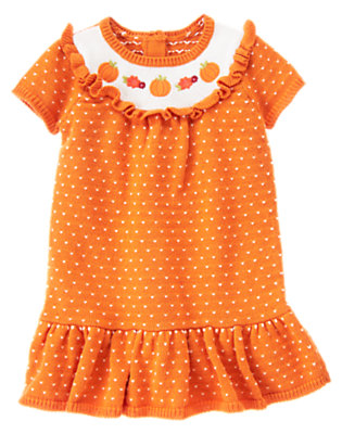 Toddler Girls Pumpkin Orange Embroidered Pumpkin Sweater Dress by Gymboree