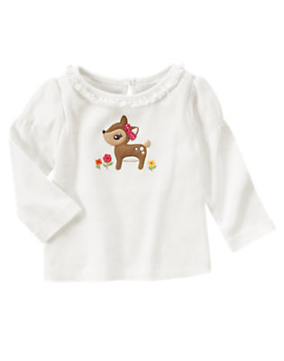 Ivory Deer Ruffle Tee by Gymboree