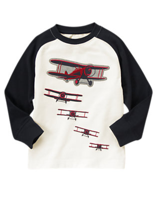 Boys Ivory Airplanes Raglan Tee by Gymboree