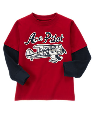 Boys Holiday Red Ace Pilot Double Sleeve Tee by Gymboree