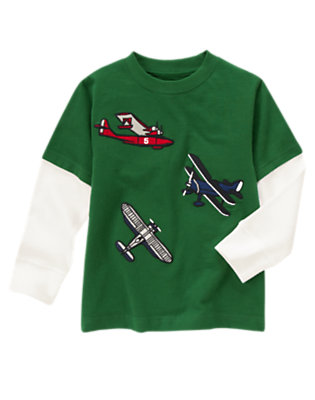 Spruce Green Airplanes Double Sleeve Tee by Gymboree