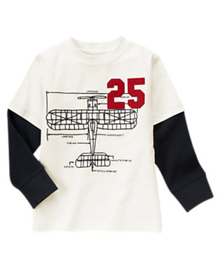 Ivory Airplane Diagram Double Sleeve Tee by Gymboree
