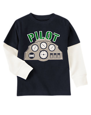 Gym Navy Pilot Double Sleeve Tee by Gymboree