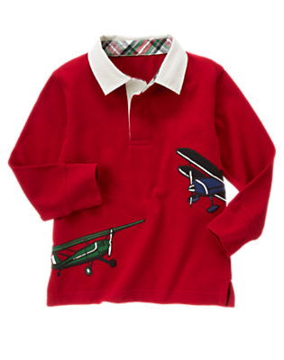 Toddler Boys Holiday Red Airplanes Rugby Shirt by Gymboree