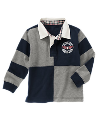 Gym Navy Flying Aces Patch Rugby Shirt by Gymboree