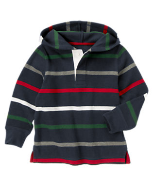 Gym Navy Stripe Stripe Hooded Pullover by Gymboree