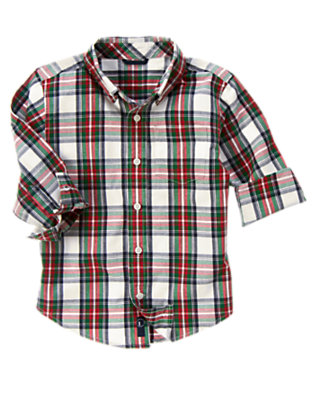 Boys Ivory Plaid Plaid Shirt by Gymboree