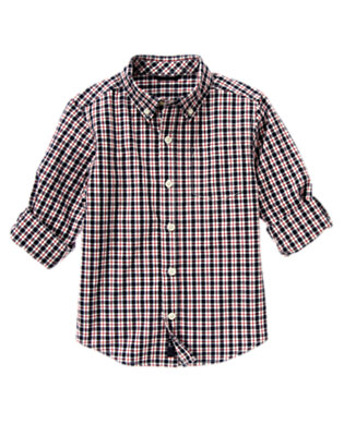 Gym Navy Check Tattersall Shirt by Gymboree