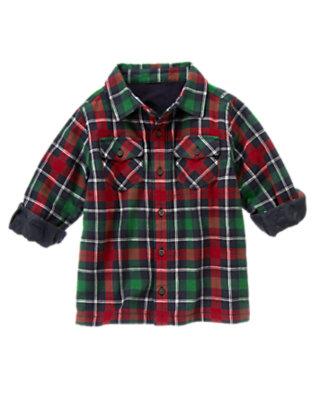 Boys Spruce Green Plaid Plaid Flannel Shacket by Gymboree