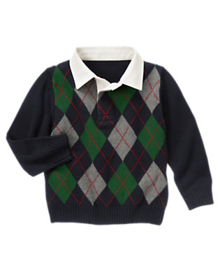 Gym Navy Argyle Collar Sweater by Gymboree