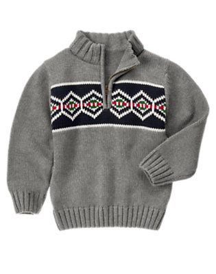 Boys Heather Grey Fair Isle Half Zip Sweater by Gymboree