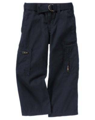 Gym Navy Belted Canvas Cargo Pant by Gymboree