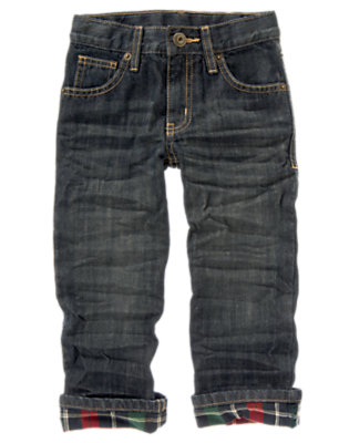 Boys Denim Plaid Cuffed Jean by Gymboree