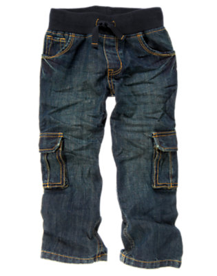 Boys Denim Drawstring Cargo Jean by Gymboree