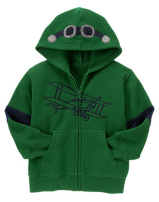 Spruce Green Aviator Hoodie by Gymboree