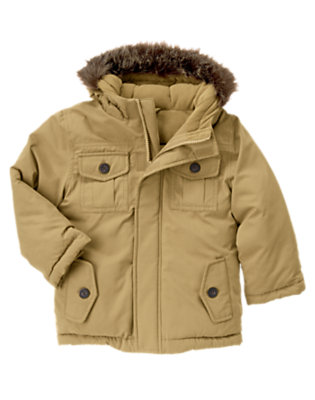 Khaki Hooded Cargo Jacket by Gymboree