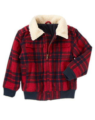 Holiday Red Plaid Woolen Jacket by Gymboree