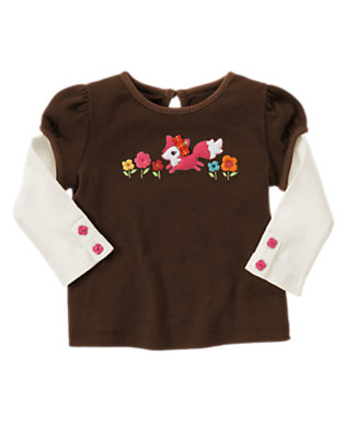 Forest Brown Fox Flower Double Sleeve Tee by Gymboree