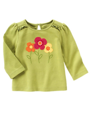 Acorn Green Flower Ruffle Tee by Gymboree
